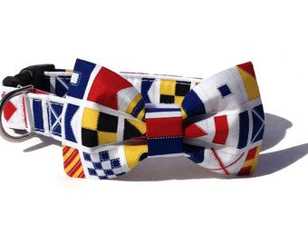Nautical Flags  Dog Bow Tie and Collar Set  for Small to Large Dogs