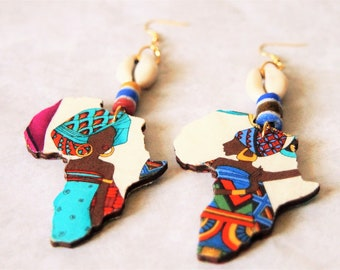 Fabric Covered Wood Earrings-Lady Africa With Cowrie Shell 2