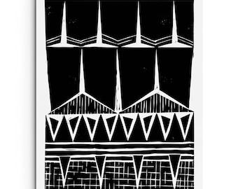 Modern Tribal Patterns - Geometric Print - Linocut Block Print - Original or Digital Print