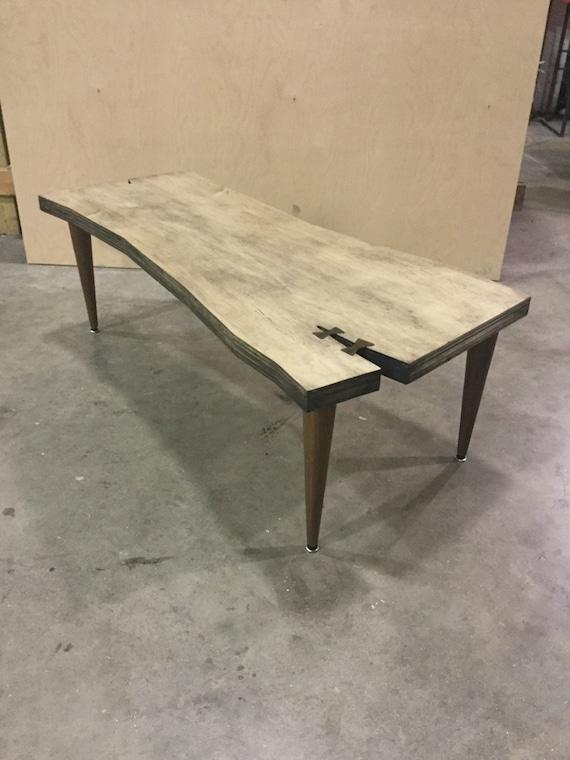Coffee table live edge stylegeometric shapebirch plywood