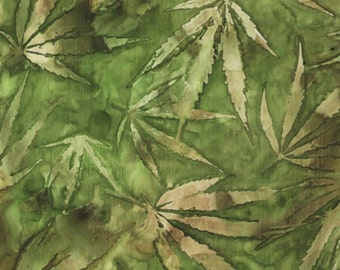Quilting Treasures - Cannabis - Green
