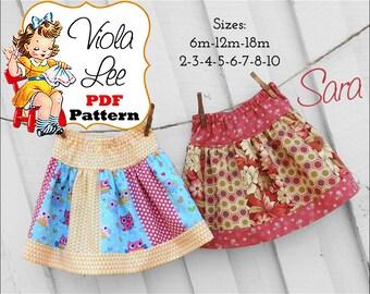 Sara, Girls Skirt Patterns, Strip Skirt Pattern, Toddler Skirt Patterns. Girls Sewing Patterns pdf, Toddler Sewing Patterns, Baby Skirts