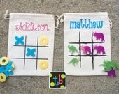 SALE!! Personalized Tic Tac Toe Bags Dinosaur Game
