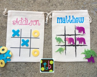 Personalized Tic Tac Toe Bags Stocking Stuffer Dinosaur Game