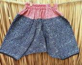 Boys Or Girls Harem Pants, Boho Trousers Indigo Batik With Red Batik Waist, Toddlers Cotton Pants, Baggy Pants FREE Worldwide Shipping