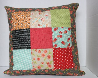 Nine Patch Quilted Pillow Cover  Zipper Closure on the Back 18 inches square red, aqua, green, black, tan, orange Fig Tree Fabrics cotton