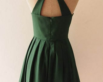 Flash Sale LOVE POTION - Forest Green Dress, Green Midi Dress, Bachelorette Dress, Cocktail Dress, Audrey Hepburn Dress, Dress with Pocke...