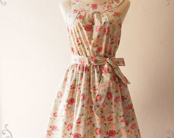 Tea Party - Pale Blue with Coral Rose Vintage Inspired Floral Dress Summer Holiday Bridesmaid Dress - XS-XL, Custom