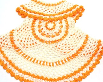 Peaches and Cream crochet baby toddler circle vest.  Ready to ship boho hippie baby spring time circle vest.