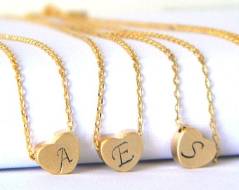 Gold Heart Initial Monogram Layering Charm Necklace