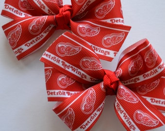 Detroit Red Wings Set of Two Hair Bows NHL Hockey