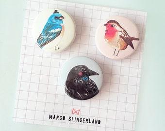 Set of 3 Birdies Pin Buttons - Blue Bird - Robin - Crow - 1.5 inch badge