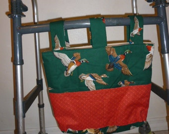 Walker Tote Bag, Flying Ducks on Green