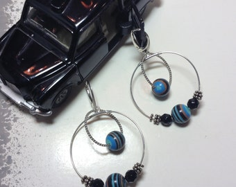 Fordite - Dearborn Michigan Vintage Car Paint Hand-cut Bead Double Hoop Earrings, Sterling Silver & Black Onyx accent Beads