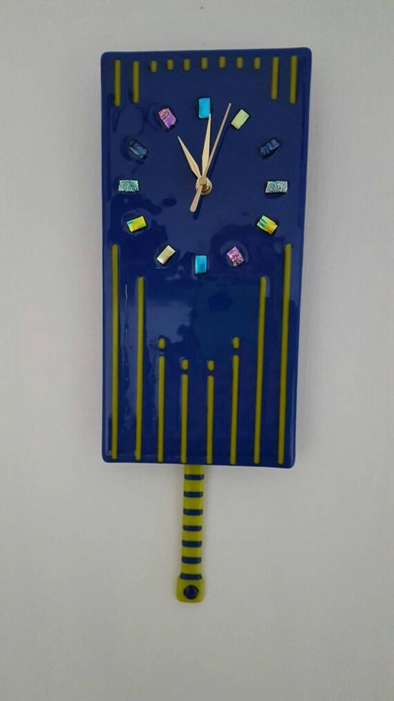 items similar to blue glass pendulum clock pendulum wall