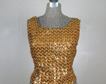ON SALE // Vintage 1960s Gold Sequin Shell Top 60s Sparkling Sleeveless Evening Blouse Size Small