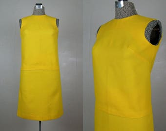 Vintage 1960s Cotton Dress 60s NOS Yellow Cotton 2 Piece MOD Shift Dress by Lisa Ross Size S/Petite