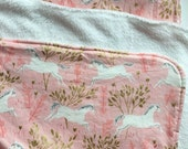 Pink Unicorn Baby Blanket Cuddle, baby girl nurser, baby girl blanket, pink blanket