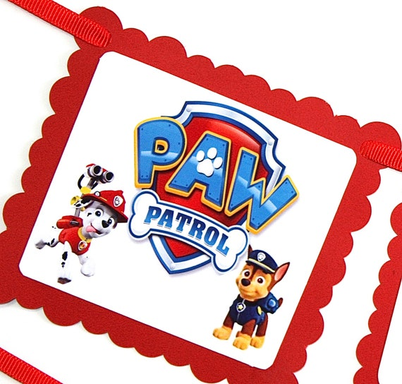 Paw Patrol Theme Birthday Party Banner Personalized Happy