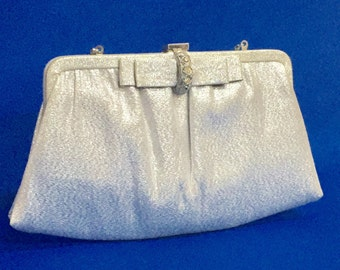 Vintage Silver Lame Evening Bag Crystal Rhinestone Bow Clasp 60s