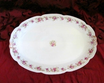 Vintage LS&S Limoges Serving Dish Large Platter Gold Painted Floral Pattern Fine China Made in France