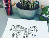 Kitchen decor. Cow decor. Typography. Home decor. Handmade. Cow art. Kitchen cow art. Home.