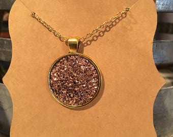 Rose Gold druzy necklace on gold setting- 25mm