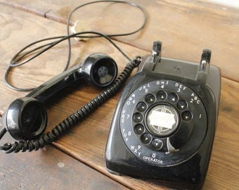 Retro Rotary Telephone Desk Office Black Vintage Phone with Cord Monophone Brand
