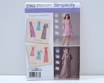 Caftan Dress Simplicity 2363 Sundress Shift Dress Sheath Dress Smock Dress Hippie Boho Evening Wear Maxi Midi Mini Size 14 16 18 20 22 2010s