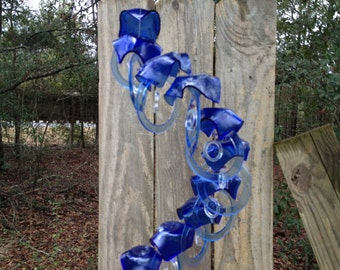 blue, lt blue, GLASS WINDCHIMES from RECYCLED bottles,  garden decor, wind chimes, mobiles, musical, windchimes