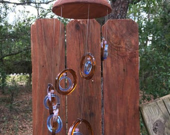 lt brown, lt blue, GLASS WINDCHIMES-RECYCLED bottles,  wind chime, garden decor, wind chimes, musical, home decor, mobile