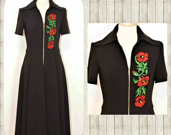 Folk Embroidey Dress Midi Embroidery Poppy Flower on Black cotton Dress Folk Poppy Flower Dress Stage Bohemian dress