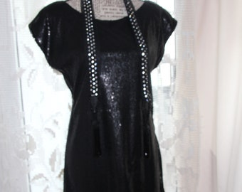 CLEARANCE Little Black Dress , Beaded Sequin Dress , Sequin Dress , Bright Iridescent Dress , Black Embellished Dress