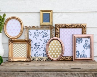 Set of 7 Gold, Copper, Rose Gold, Brass Picture Frame Set - Navy Blue and Pink -Nursery, Wedding, Home Decor- Gold, Copper, Bronze Oval