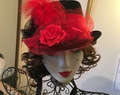 Red black top hat burlesque riding pin up wedding fashion photo shoot victorian
