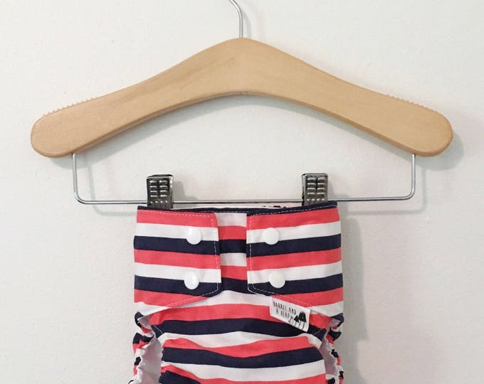 Red, White, and Blue Striped PUL Lined Water Resistant Diaper Cover Available in Small