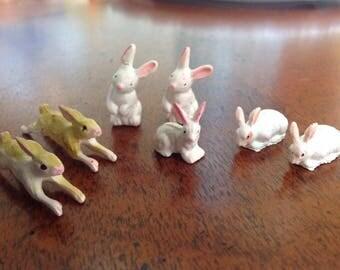 Vintage Miniature Rabbits, Miniature Bunnies, Diorama Bunnies, Shadow Box Rabbits