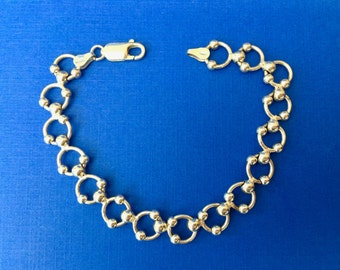 Lovely Vintage Italian Sterling Silver Link Bracelet with Unusual Links