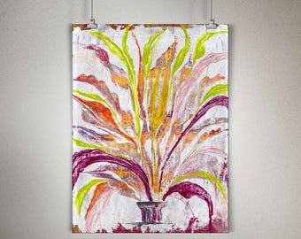 """Plant Study 0007 PAINTING on CANVAS SHEET 12"""" x 16"""", Snake Plant, Sansevieria"""