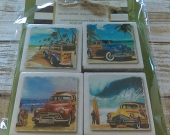 Vintage Old Woodie Car, Surf Board Ocean Cute Set of 4 Magnets, Great Gift Idea, Man Cave, Great Gift Idea, Fridge Decor, Refrigerator