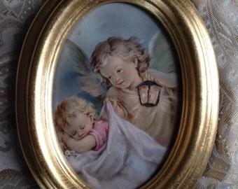 Vintage Angel Picture in Gilt Frame FREE US SHIP