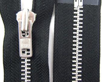 YKK Metal Black Heavy Duty Leather Motorbike Jacket Open End / Separating Zip/Zipper (No 8 Chain - Teeth are 8mm wide)