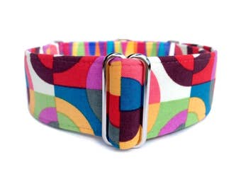 Groovy Kalidoscope Dog Collar -  1 inch or 1.5 inch Retro Rainbow Geo Circles and Stripes Martingale Collar or Buckle Dog Collar