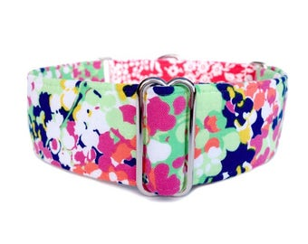 Phoebe's Garden Dog Collar - Impressionistic Floral and Soft Red Damask Martingale Collar or Buckle Dog Collar