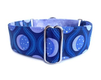 Twilight Galaxy Dog Collar - Periwinkle, Indigo, Navy Blue Crescent Moon Phases Martingale Collar or Buckle Dog Collar