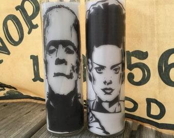 Frankenstein and Bride of Frankenstein Pillar Candle set