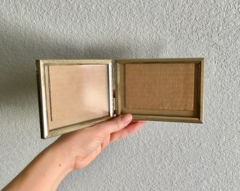3.5x5 Double Hinged Metal Picture Frame / Lovely Gold Metal With Filigree / Perfect For old Family Photos /Desktop -mantle - bookshelf Decor