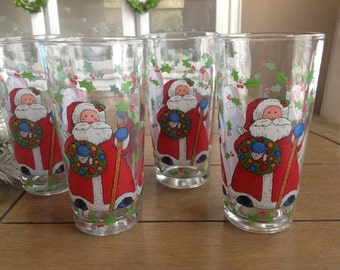 Vintage Santa Claus // Father Christmas Drinking Glasses Made in Indonesia Tapered