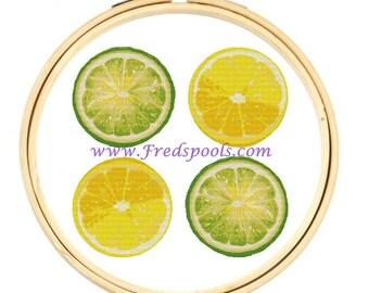 Modern Cross Stitch Kit, Lemon and Limes, Citrus Fruit, Counted Cross Stitch, Kitchen Art, Lime cross stitch