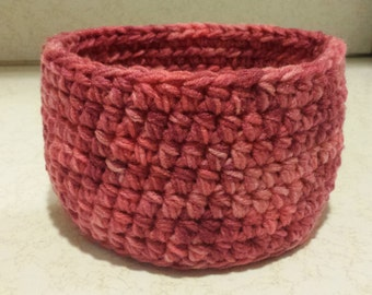 Mauve Pink Toned Crochet Basket